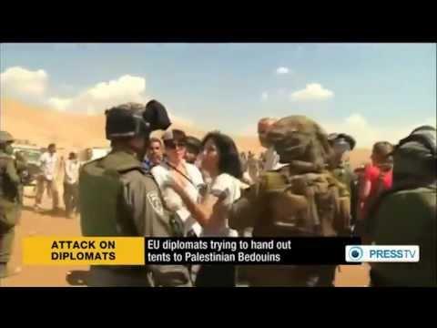 Images de la diplomate française frappant un soldat de Tsahal
